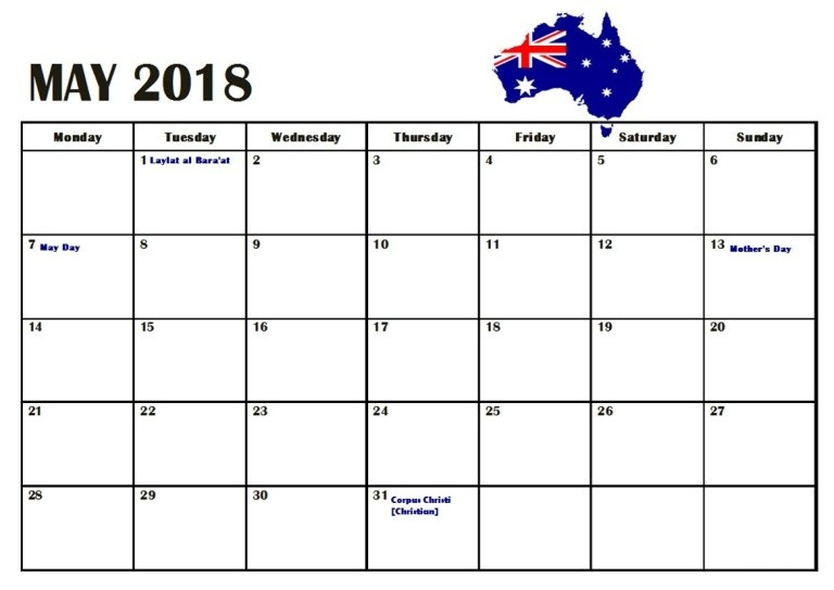 May 2018 Calendar Australia National Holidays