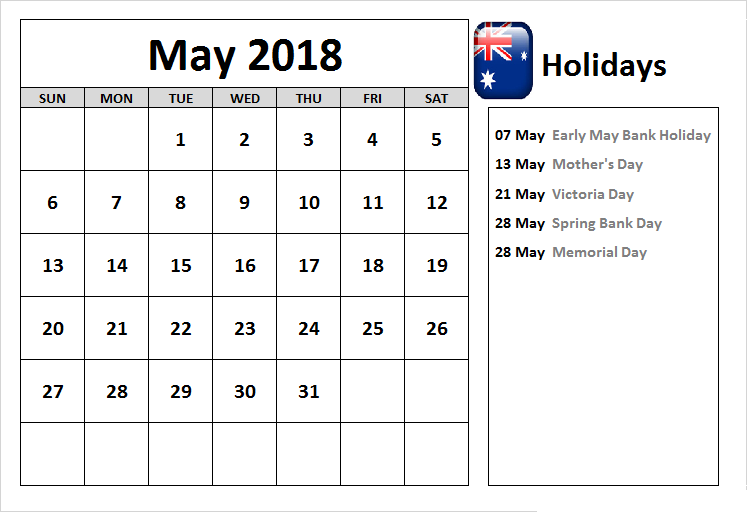 May 2018 Calendar Australia School Holidays