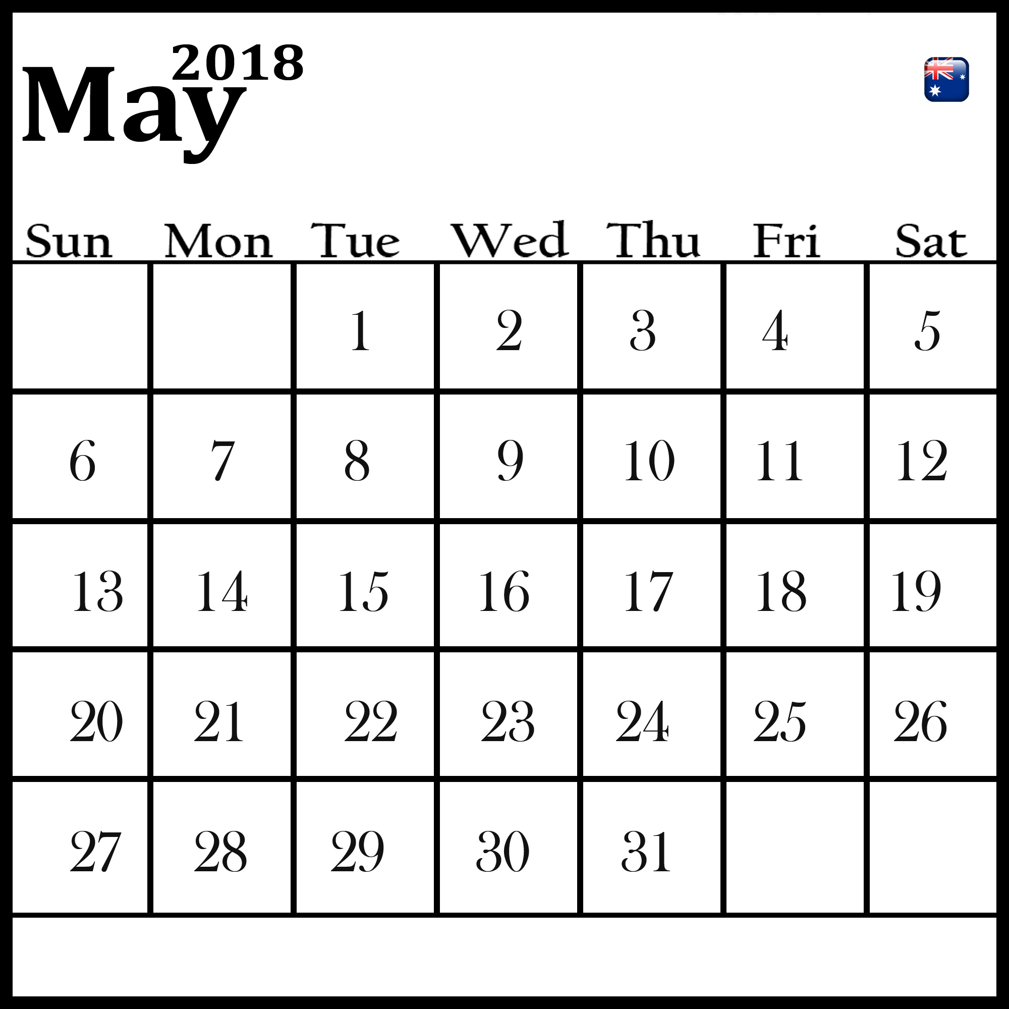 May 2018 Calendar Australia With Holidays
