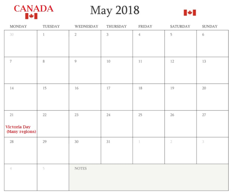 May 2018 Calendar Canada Bank Holidays
