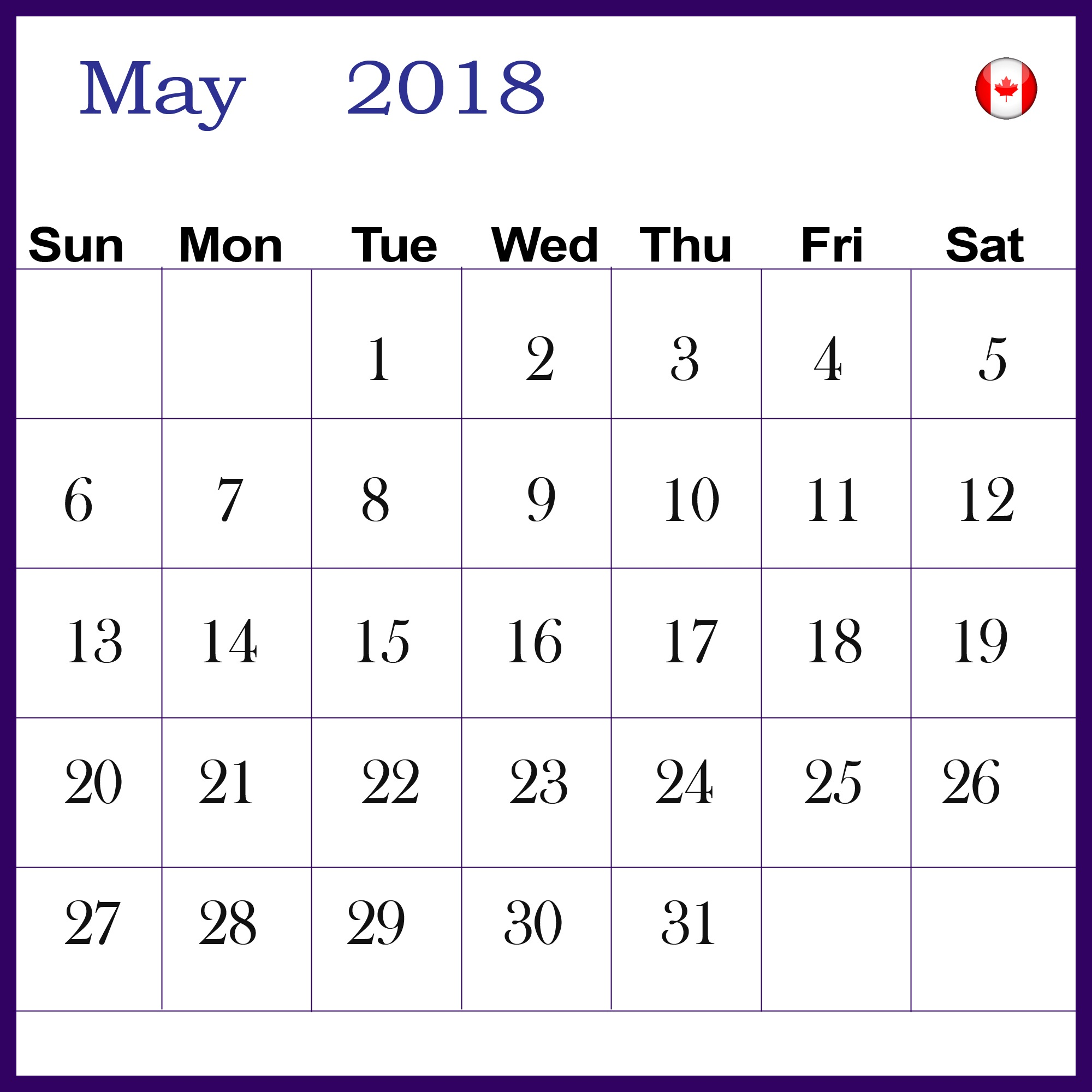 May 2018 Calendar Canada National Holidays