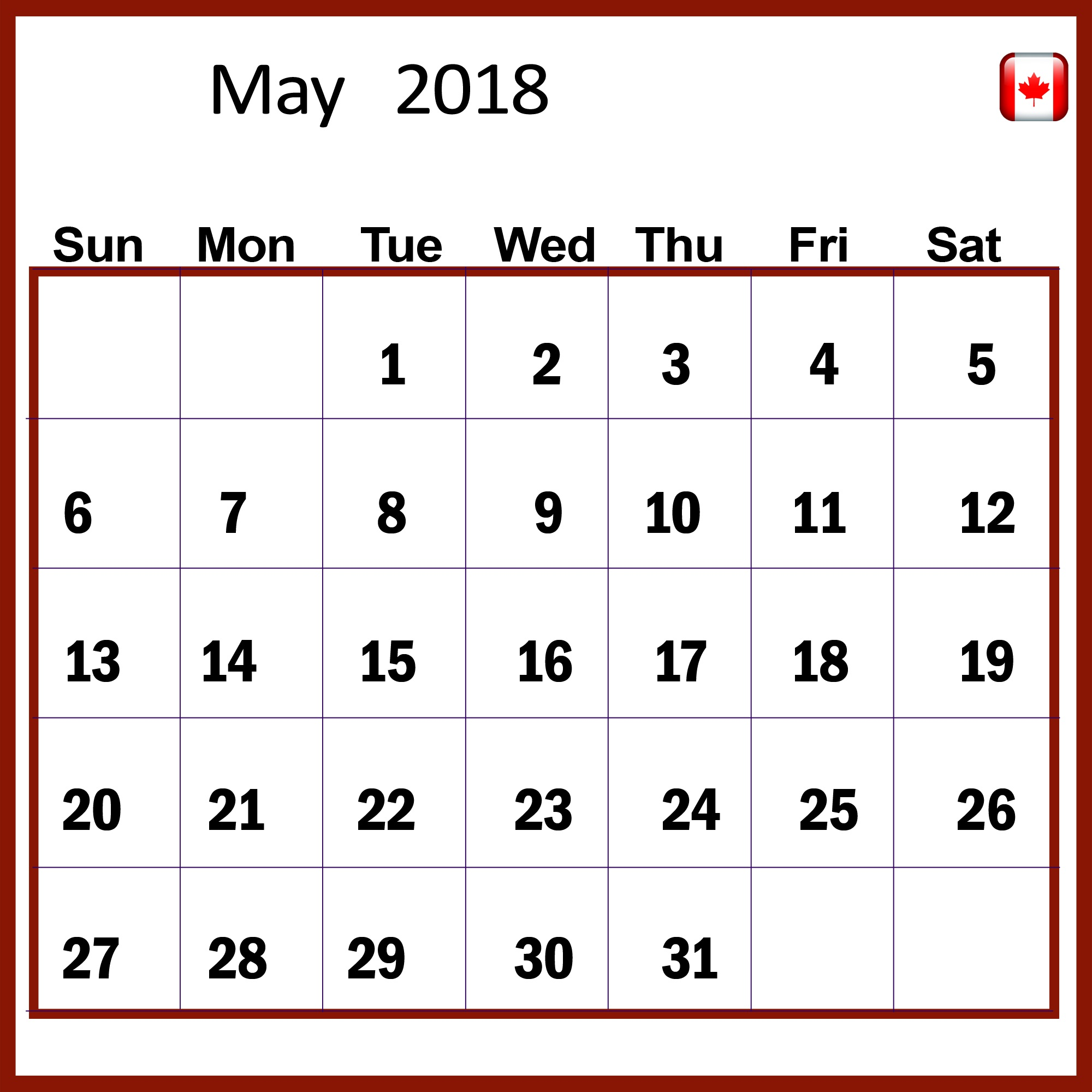 May 2018 Calendar Canada Public Holidays
