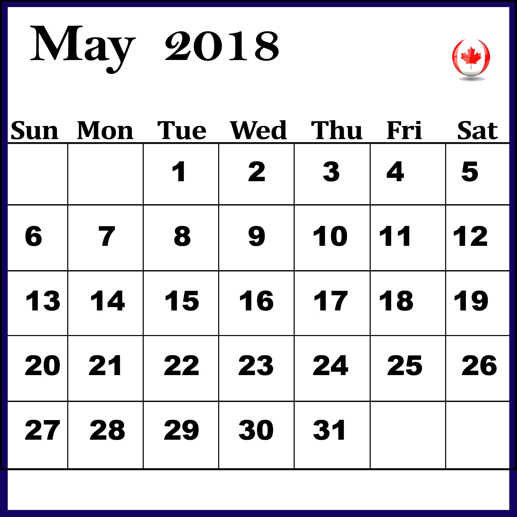 May 2018 Calendar Canada School Holidays