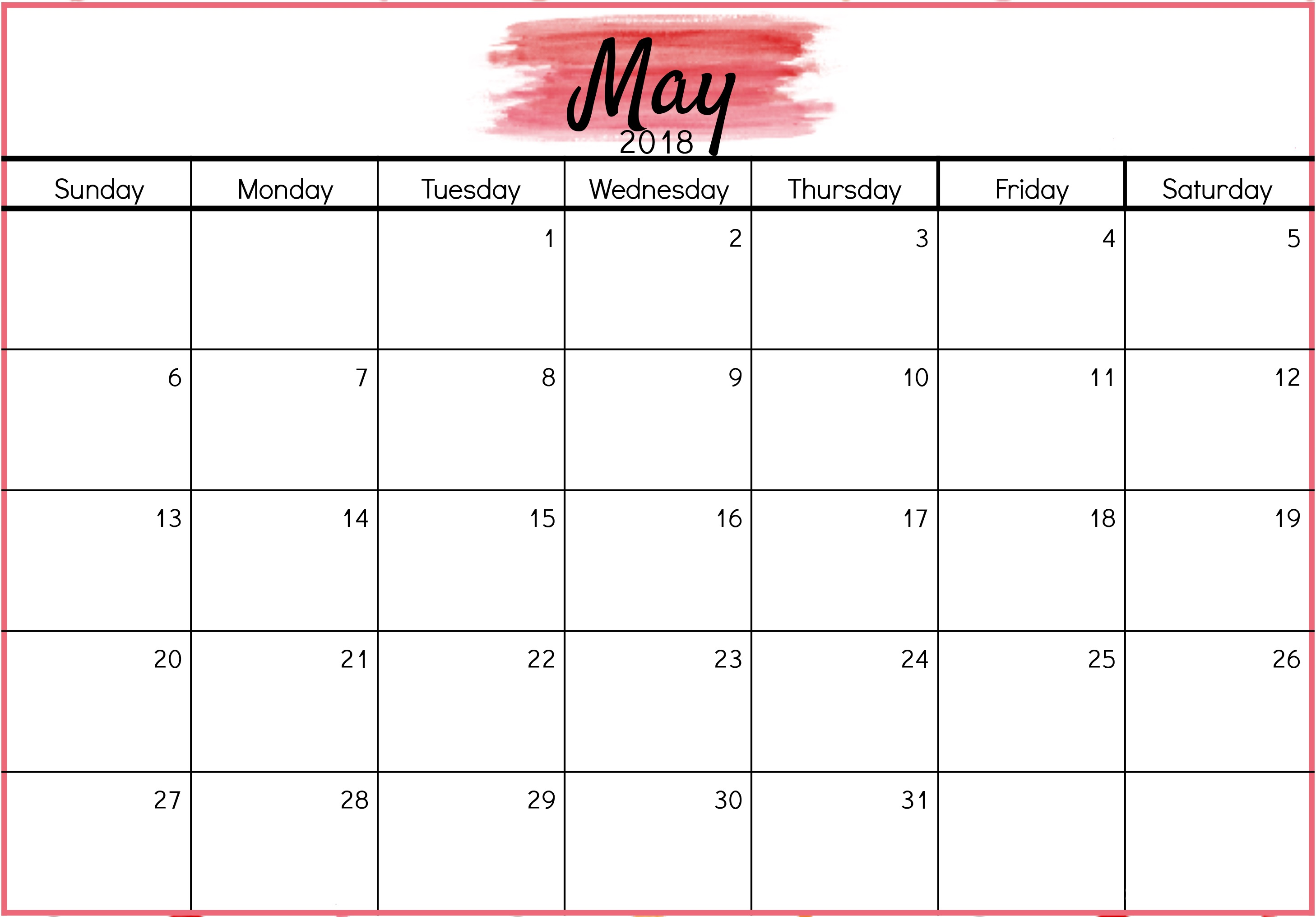 May 2018 Calendar Colorful Design