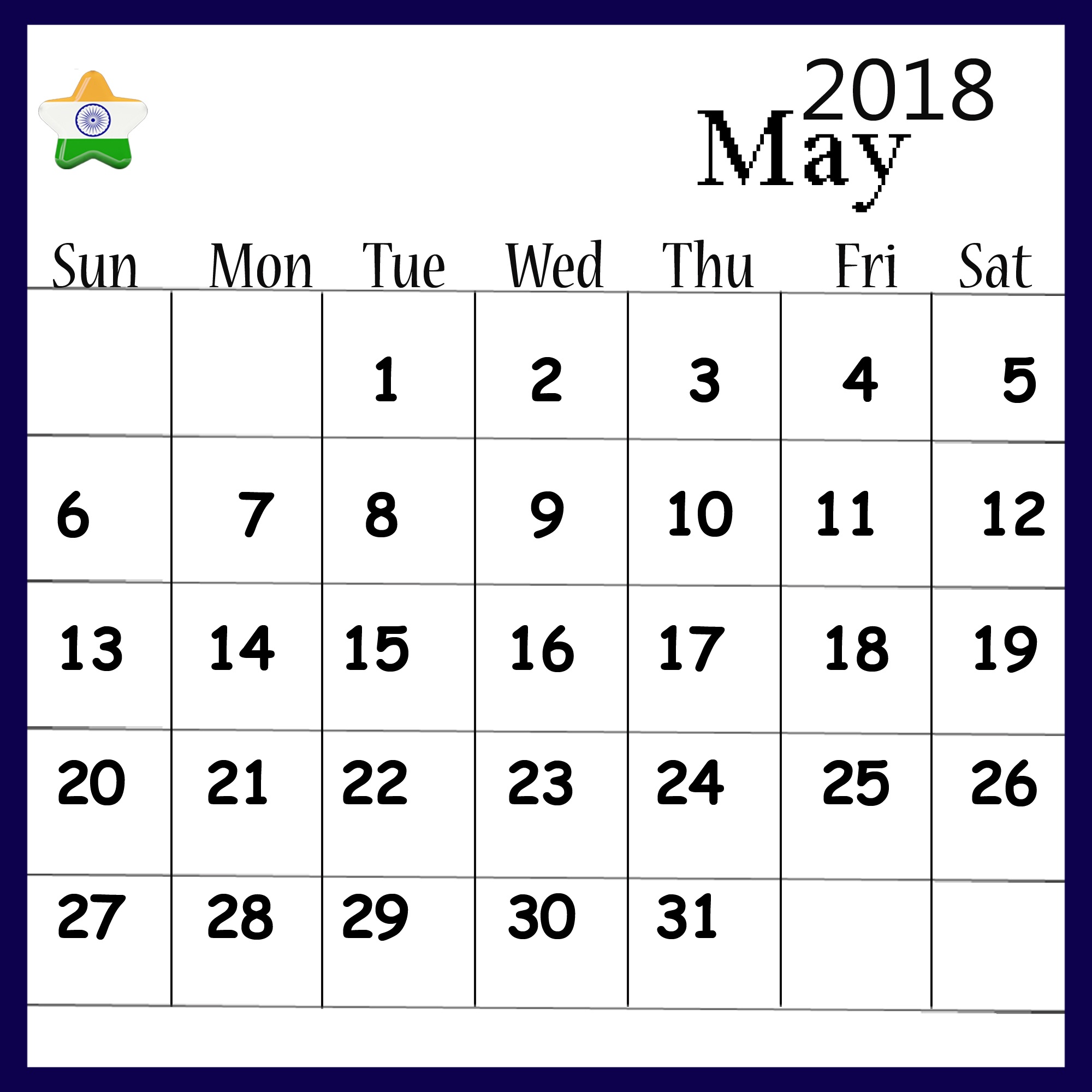 May 2018 Calendar For India