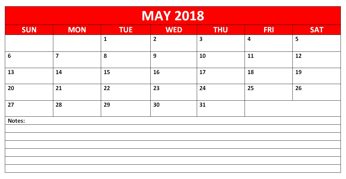 May 2018 Calendar For UK