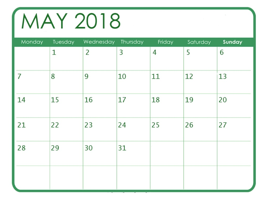 May 2018 Calendar Monthly Printable