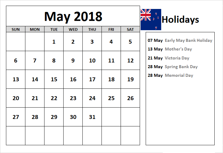May 2018 Calendar NZ Holidays
