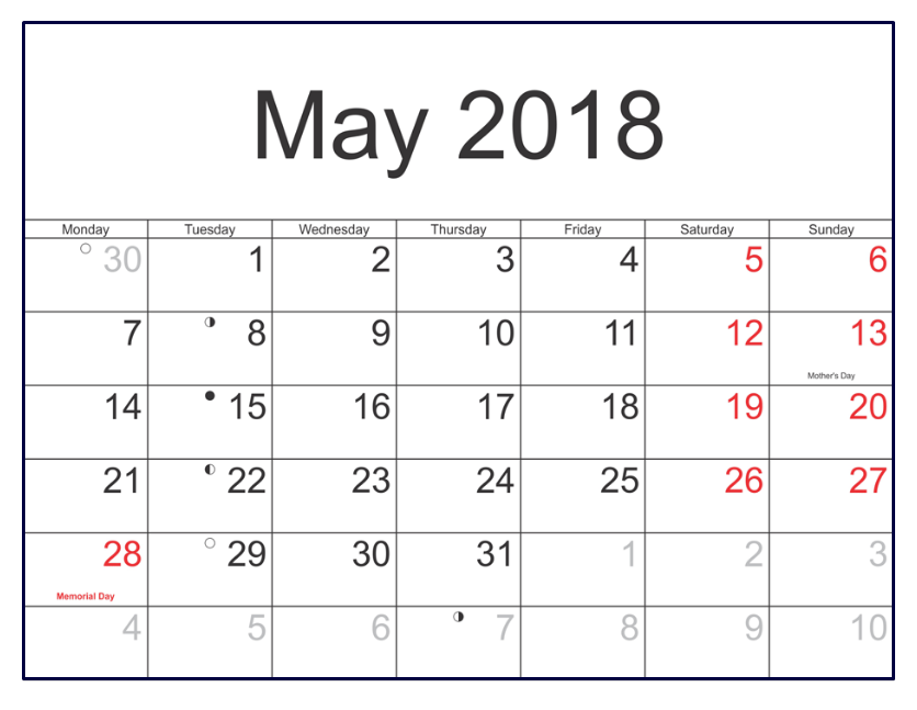 May 2018 Calendar Notes With Holidays