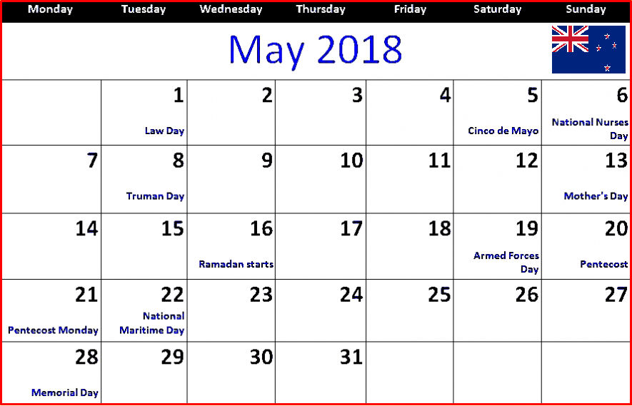 May 2018 Calendar Nz Bank Holidays 2018