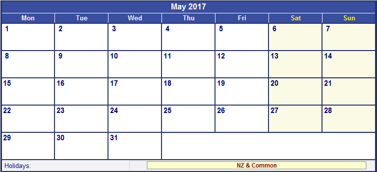 May 2018 Calendar Nz (New Zealand)