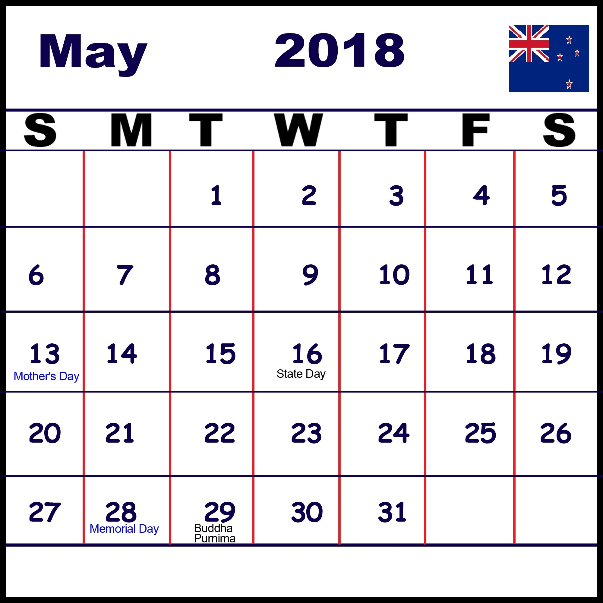 May 2018 Calendar Nz Public Holidays