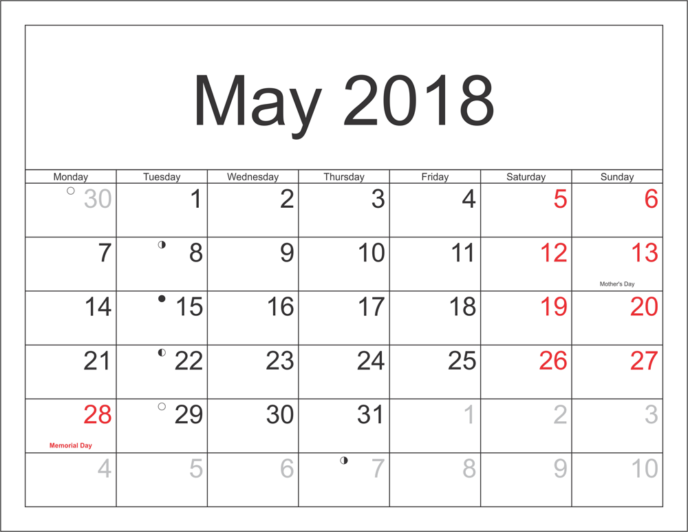 May 2018 Calendar Pdf With Holidays