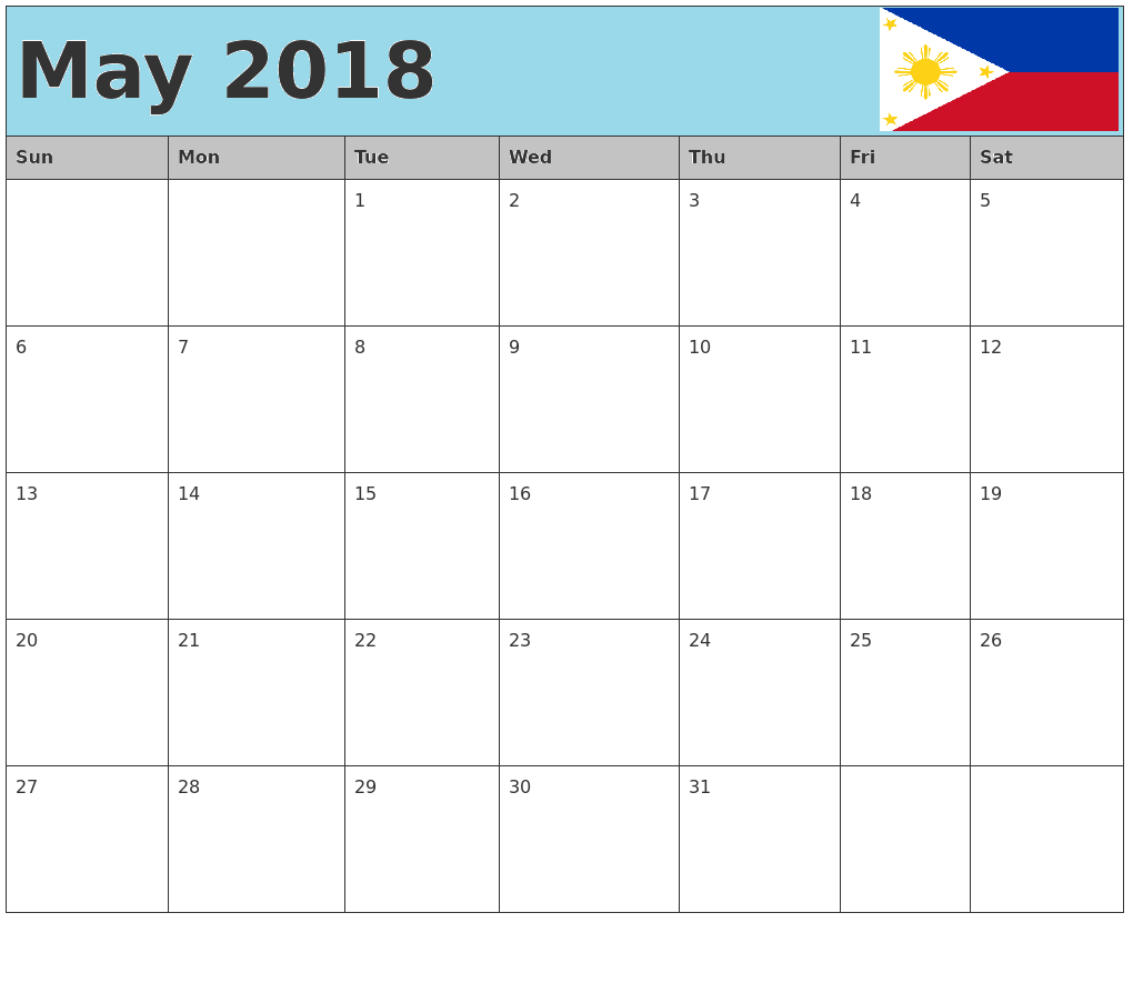 May 2018 Calendar Philippines National Holidays