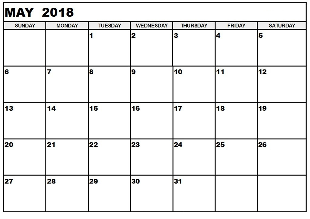 May 2018 Calendar Printable Template
