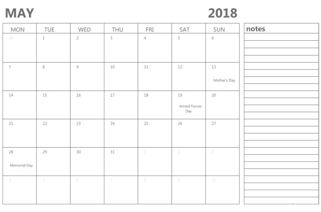 May 2018 Calendar Printable With Notes