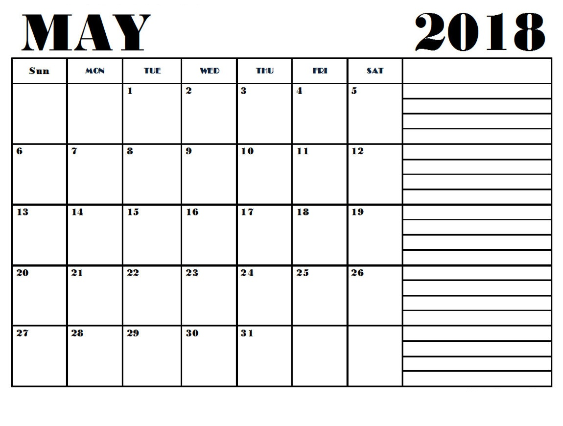 May 2018 Calendar Template With Notes