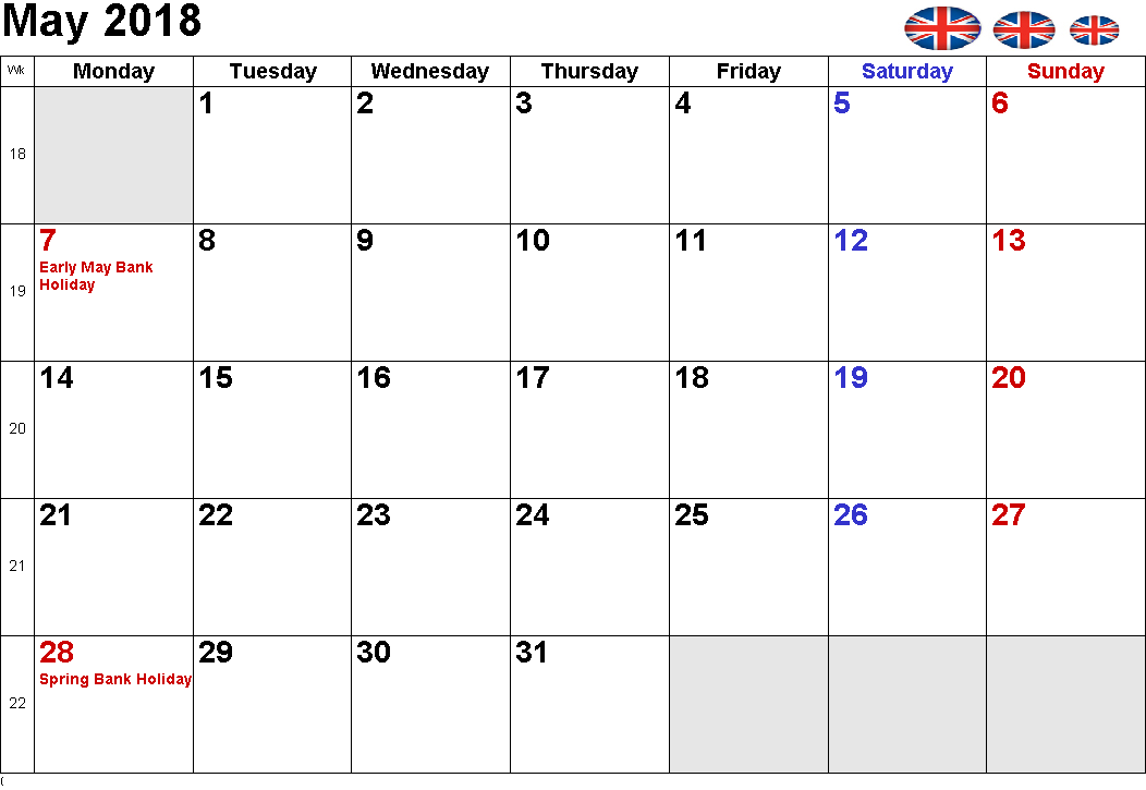 May 2018 Calendar UK Bank Holidays