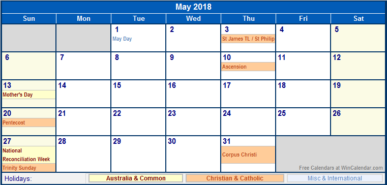 May 2018 Calendar UK National Holidays