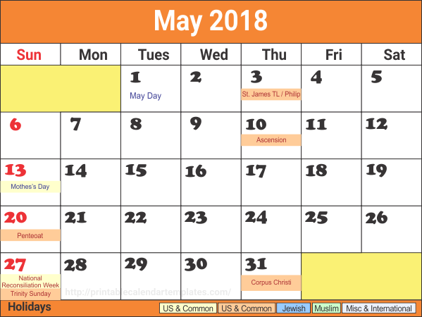 May 2018 Calendar UK Public Holidays