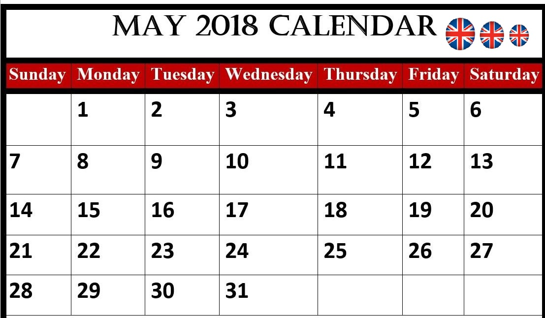 May 2018 Calendar United Kingdom