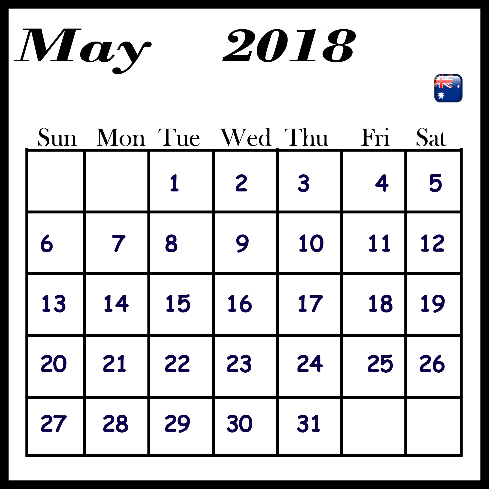 May 2018 Calendar With Australia Bank Holidays