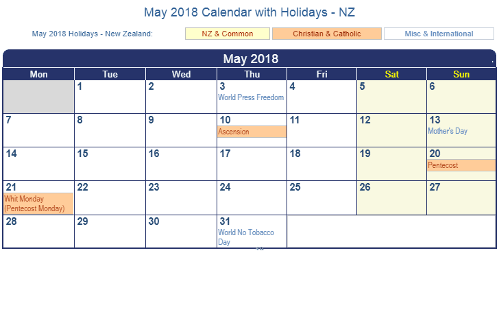 May 2018 Calendar With Holidays Nz