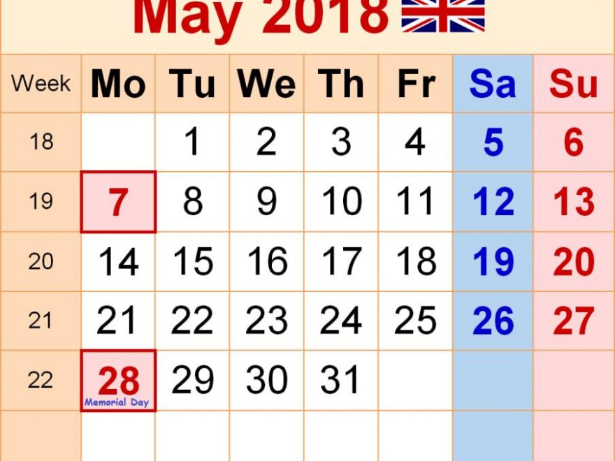 May 2018 Calendar With Holidays UK