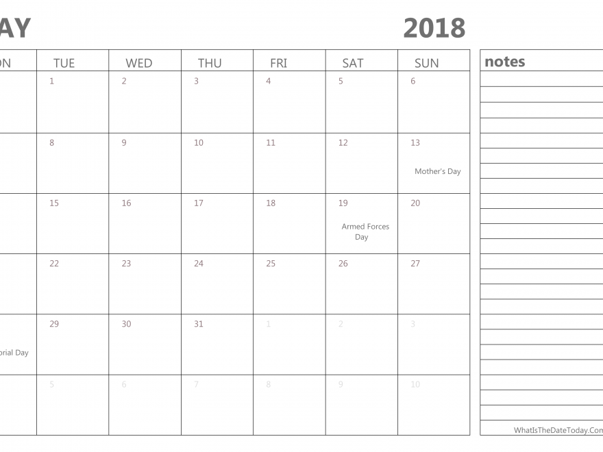 May 2018 Calendar With Notes Pdf