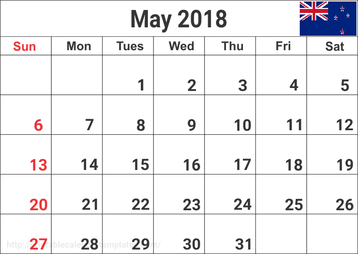 May 2018 Calendar for Nz