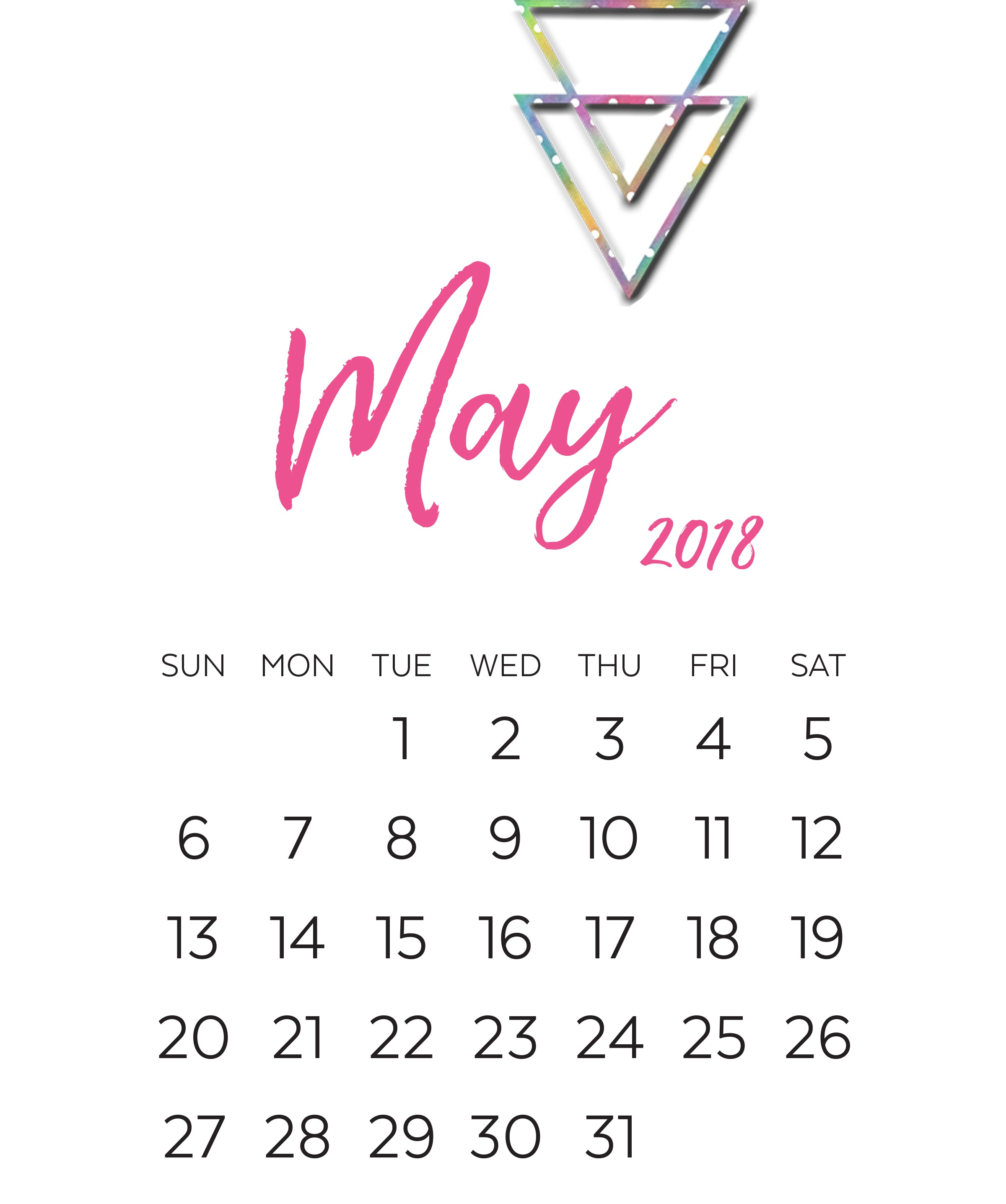 May 2018 Monthly Calendar Design