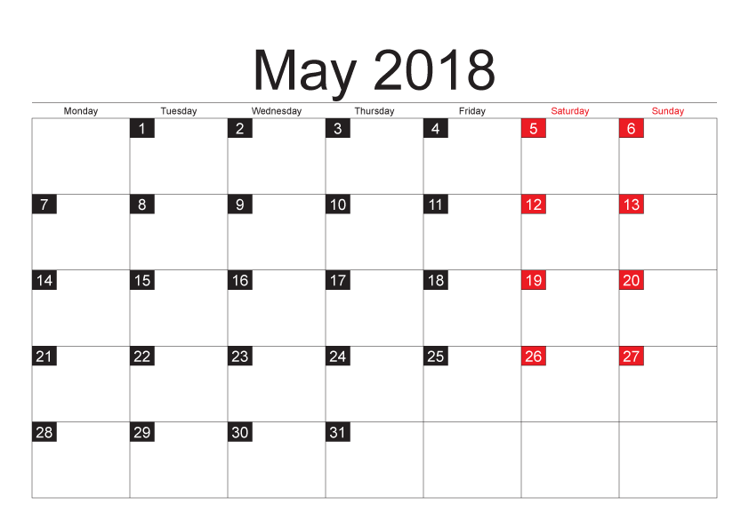May 2018 Printable Calendar In Pdf