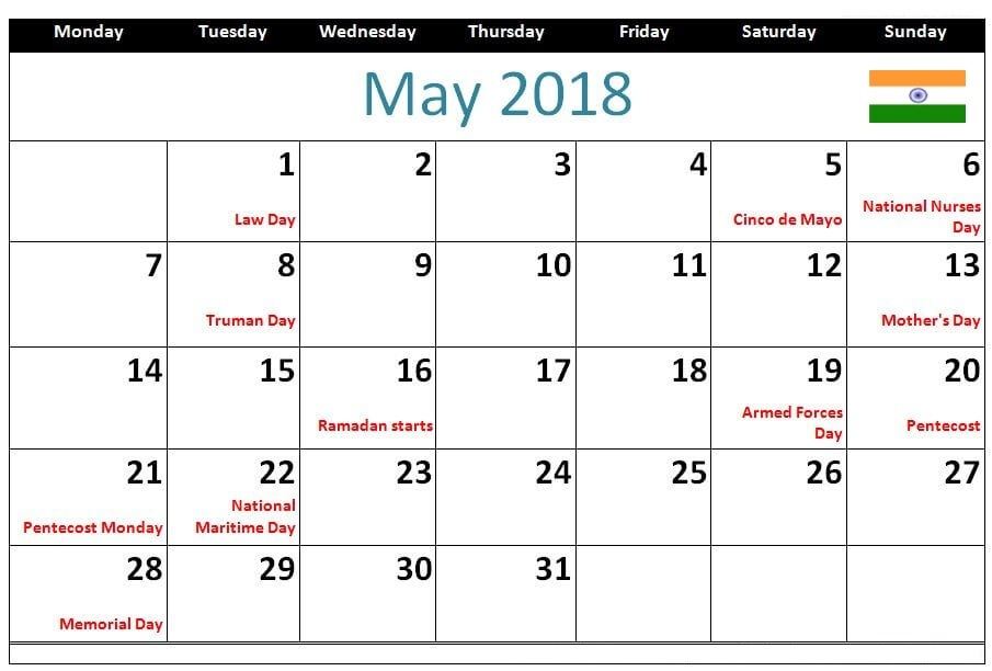 May 2018 Printable Calendar With Holidays India