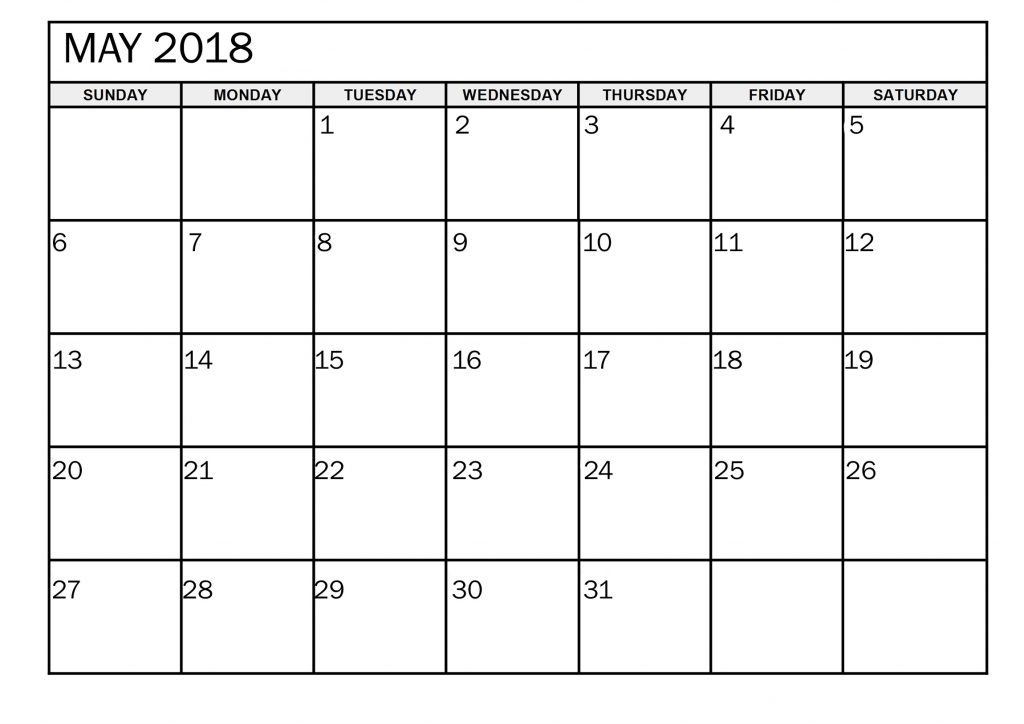 May 2018 Printable Calendar With Notes