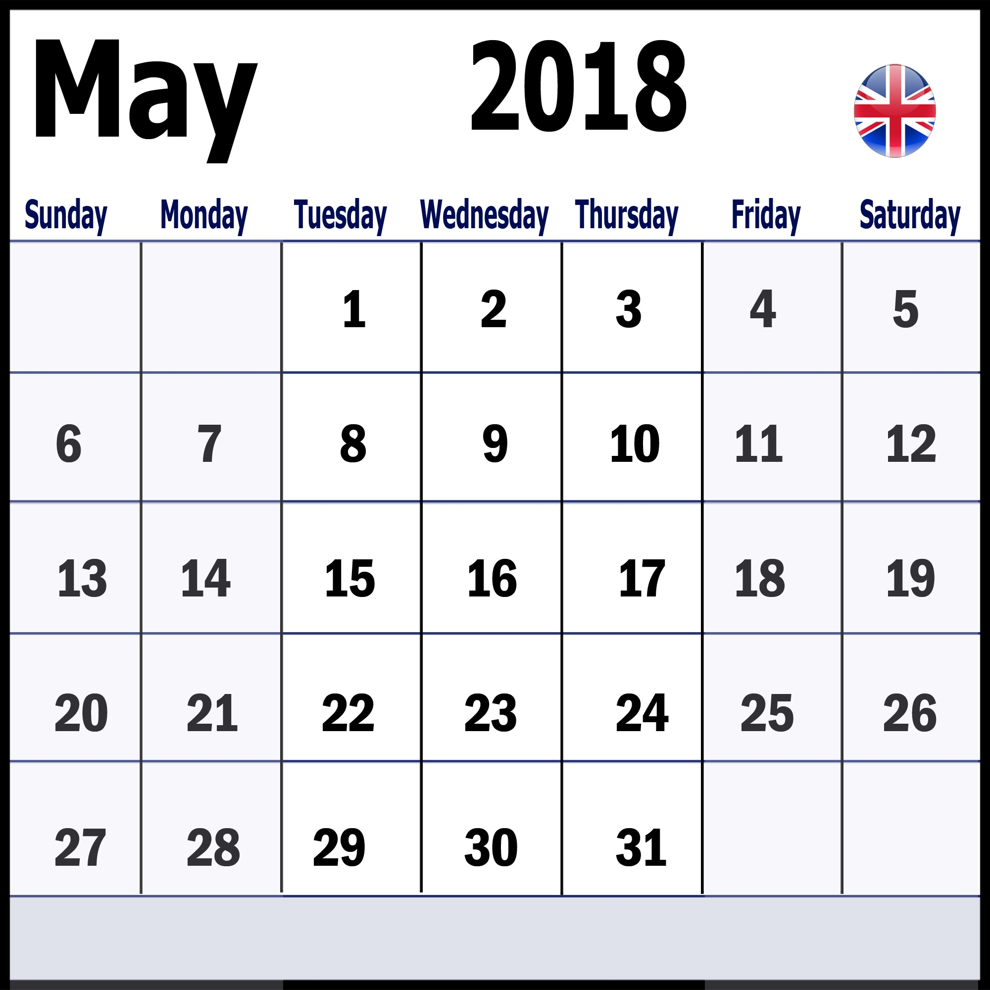 May 2018 UK Calendar With Holidays
