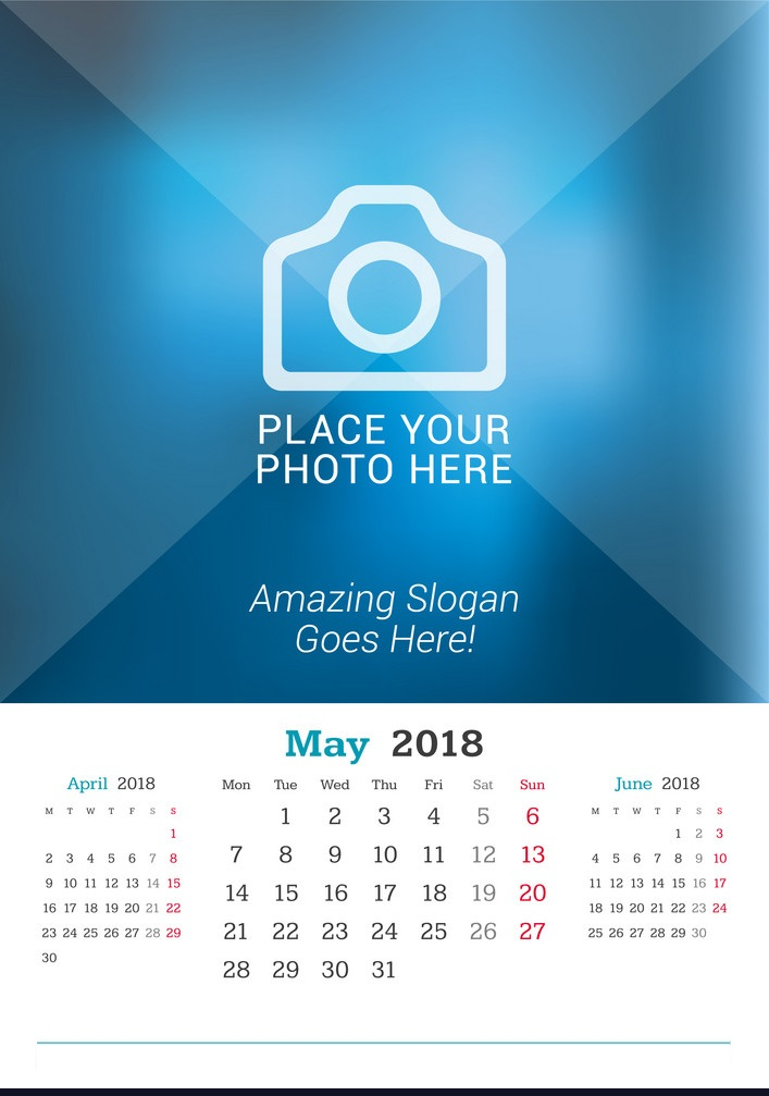 May 2018 Wall Calendar For Office
