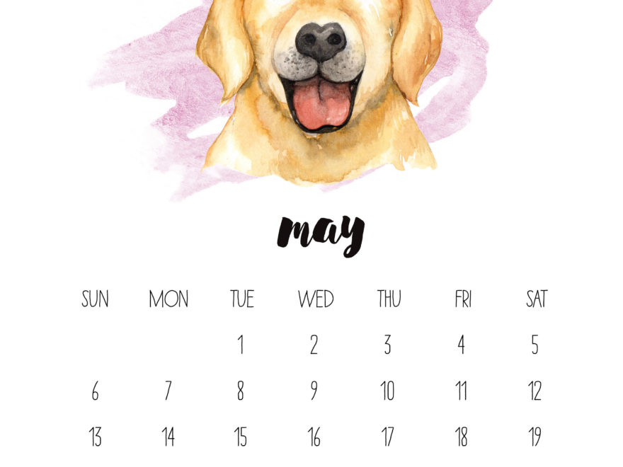 May 2018 Watercolor Wall Calendar