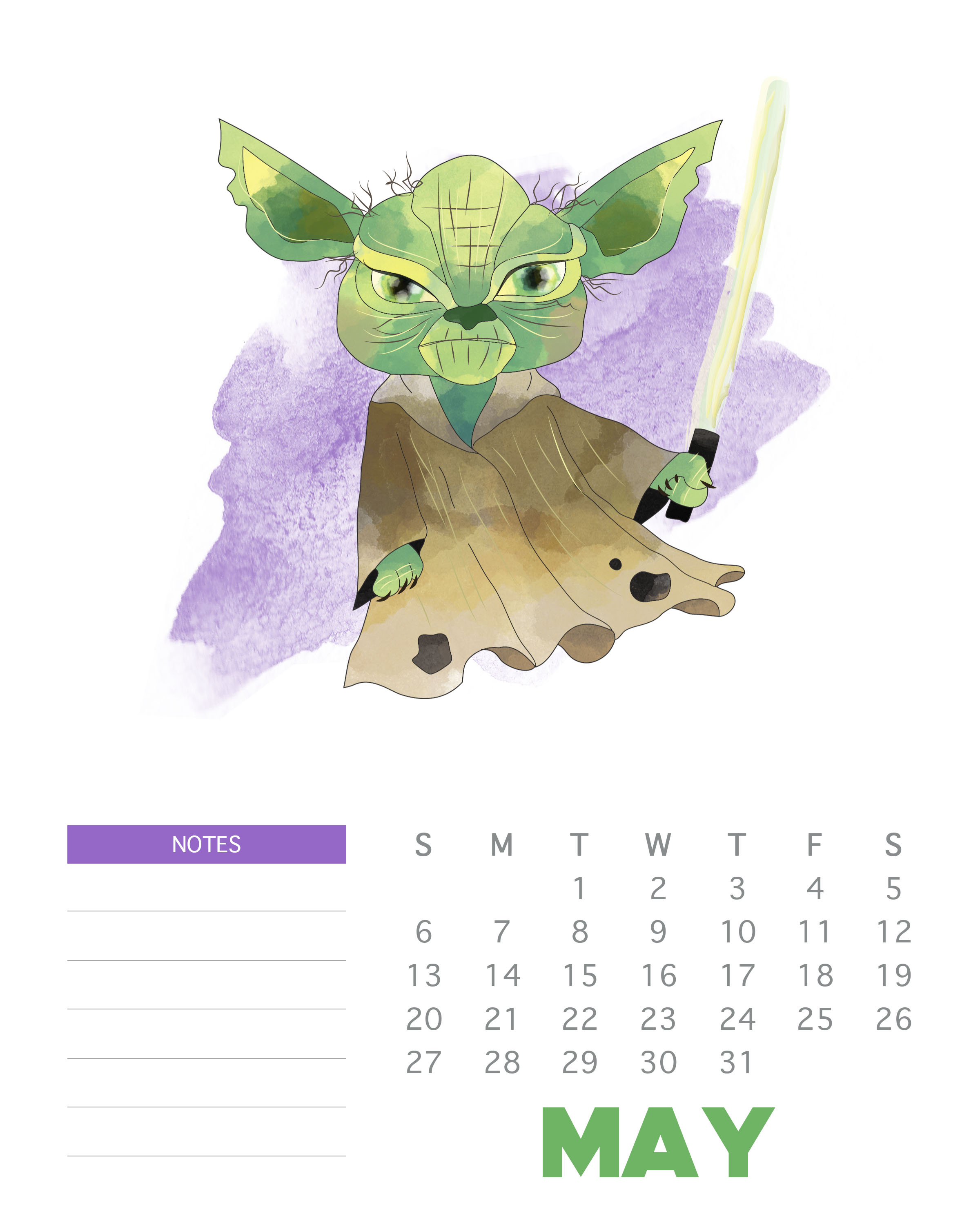 May 2018 Star Wars Calendar Template