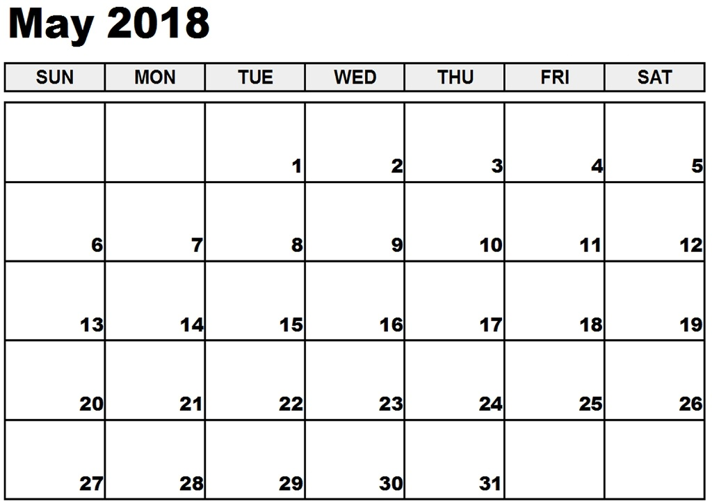May Calendar 2018 Monthly