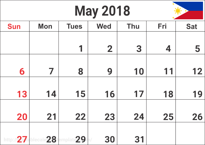 May Calendar 2018 Philippines