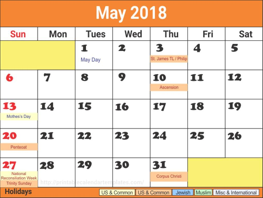 May Calendar 2018 With Holidays