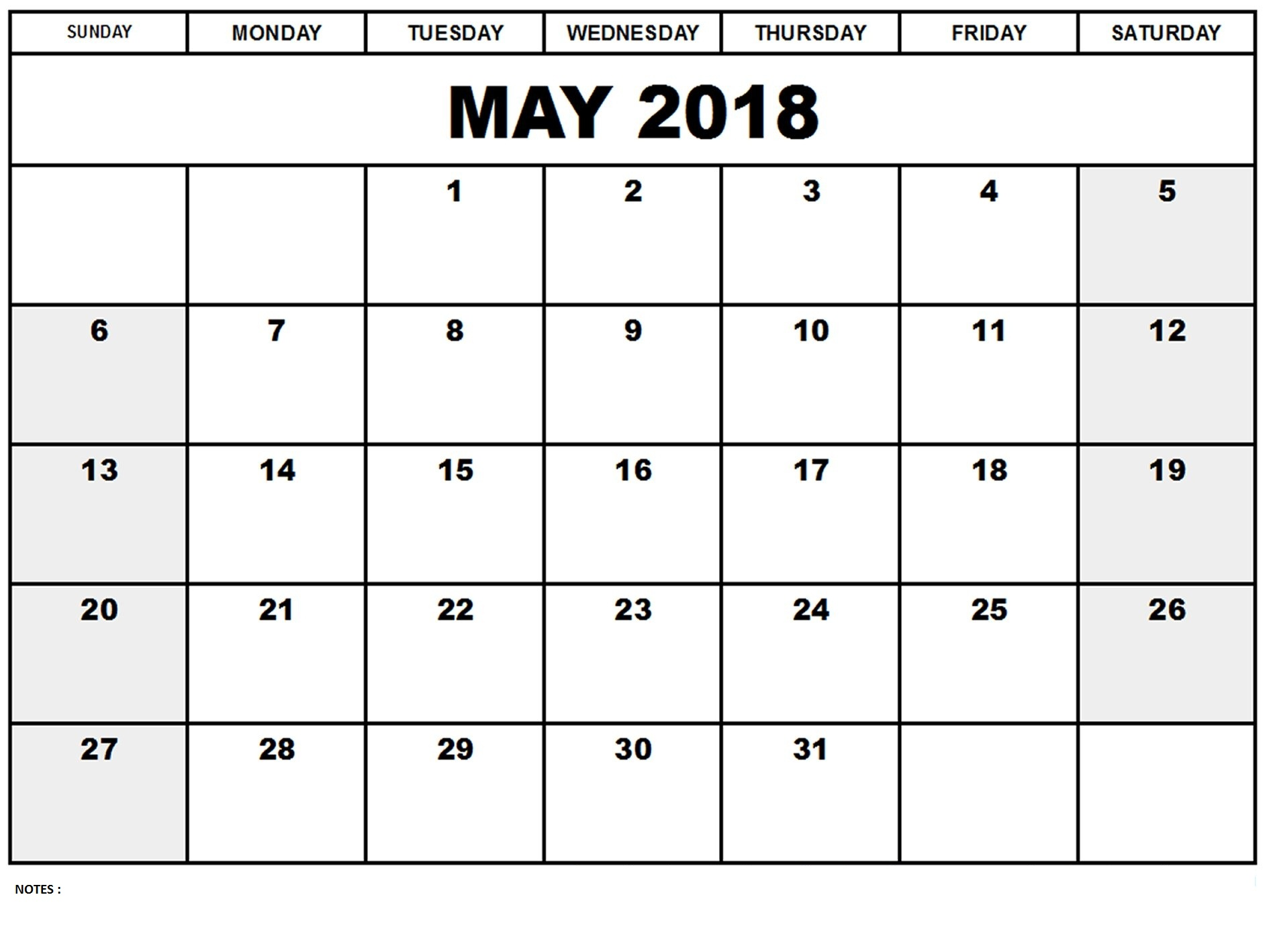 May Calendar 2018 with Notes