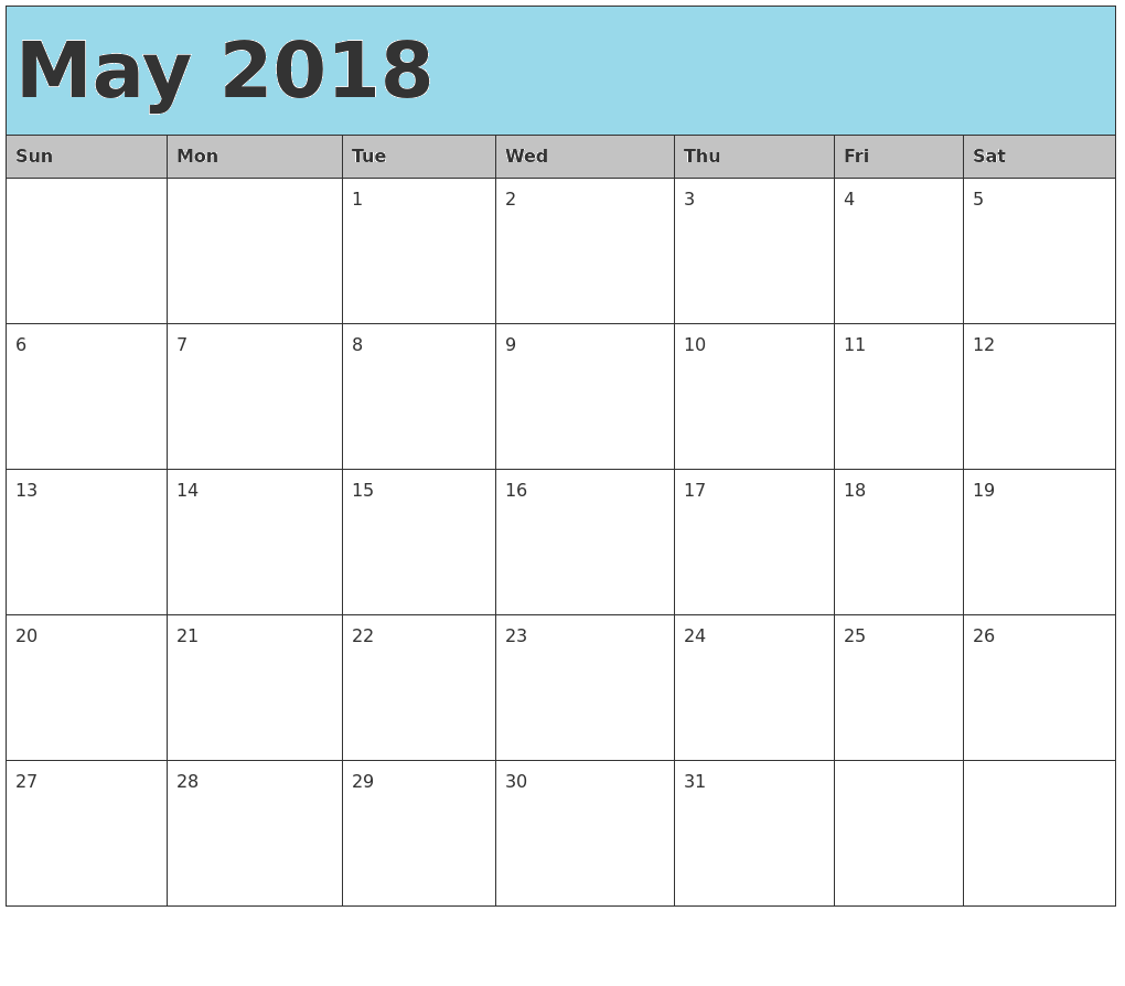 May Calendar For 2018 Blue