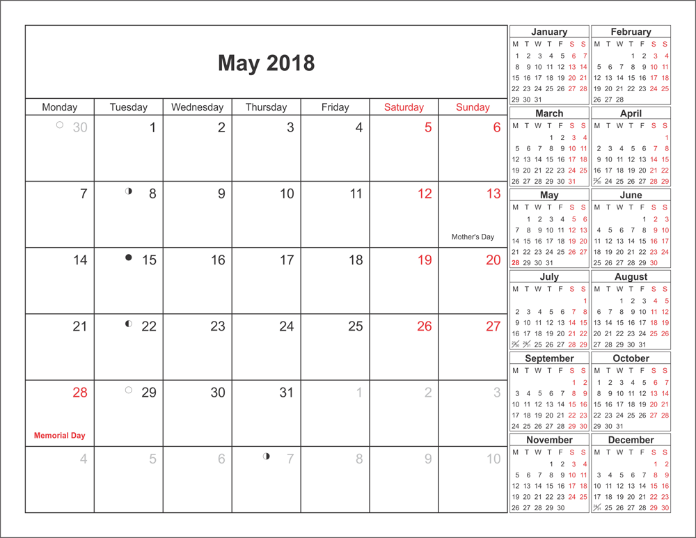 May Calendar For 2018 Monthly
