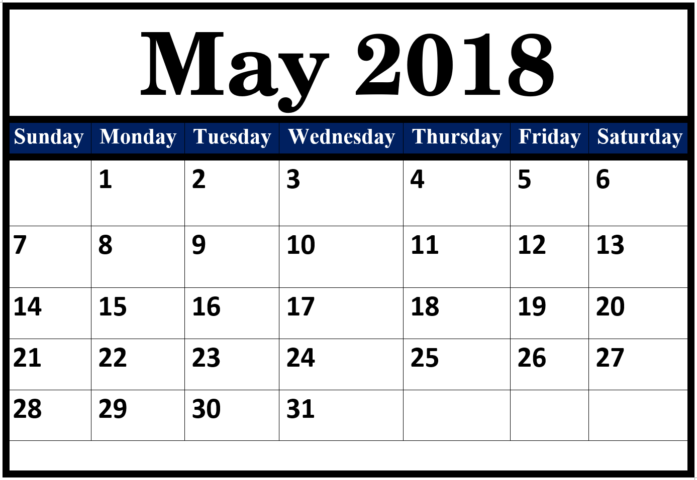 May Calendar For 2018 Pdf