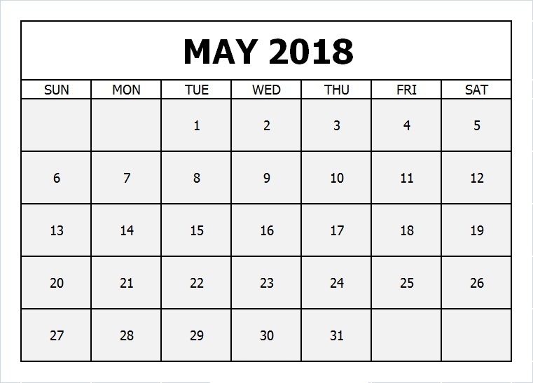 May Calendar for 2018 Template