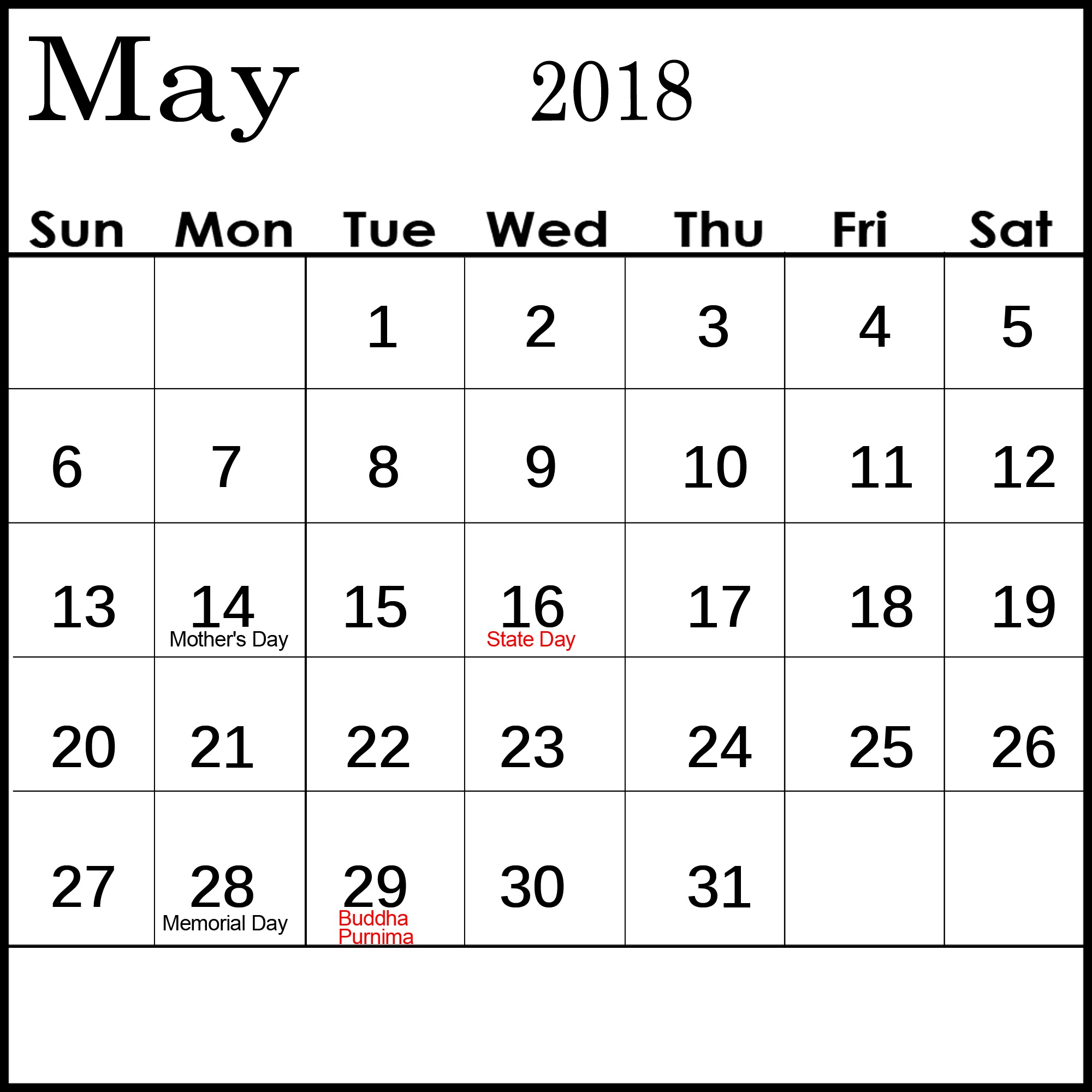 May Calendar For 2018 With Holidays