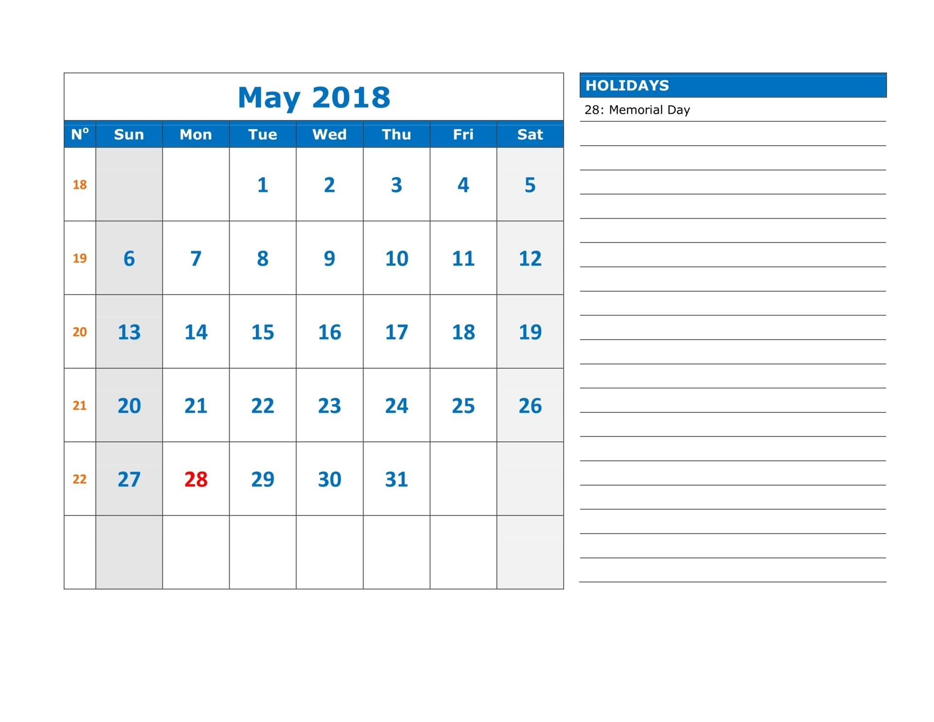 May Calendar For 2018 With Notes