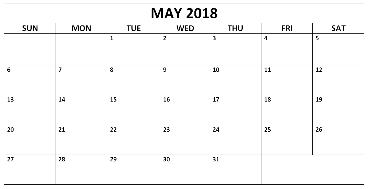 May Calendar For 2018 Word