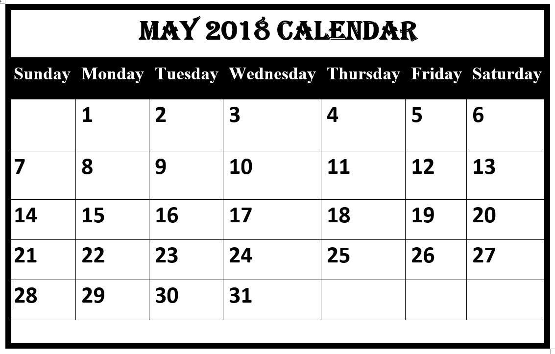 May Calendar For 2018